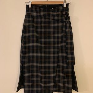 Navy check-print mid length skirt